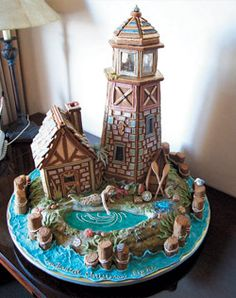 A gingerbread house by the water! I think I would add red and green candy to this to jazz it up a bit for that Christmas feel.  VL