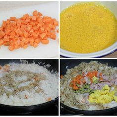 Chinese rice three delights, do not want to eat anything more than this. China Food, Oriental Food, Tasty, Yummy Food, World Recipes, Sin Gluten, Korean Food, International Recipes, Asian Recipes