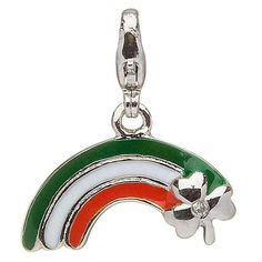 Silver Enamel Diamond Rainbow Charm