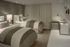 great bedding & headboard wall