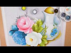 Watercolor Flowers, Vase, Painting, Professor, Decor, Home Painting, Ribbon Flower Tutorial, Handmade Rugs, Hand Painted Fabric