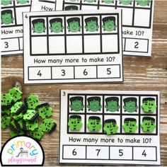 Frankenstein Ten Frame Task Cards Making Ten With  Frankenstein Friends Center  #halloweentenframes #tenframes #tenframetaskcard #frankenstein #kindergarten #firstgrade