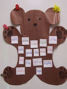 Cute circle time activity, have the kids split up into groups of three and come up with 5 words that describe teddy bears, then you could talk about what you do with teddy bears