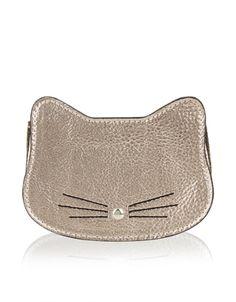 Miau! Unsere mit einem Reißverschluss versehene metallicfarbene Katzen-Geldbörse weist 3D-Ohren, aufgestickte Schnurrhaare…