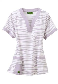 Crocs Zebra Pastel notched v-neck scrub top.