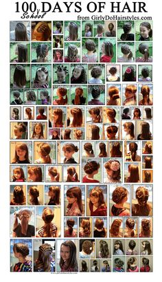 Girly Do's By Jenn: 100 Days of School Hairstyles. Omg this is awesome every morning I just stare at her hair for like 5 mins trying to figure out a way to be creative lol