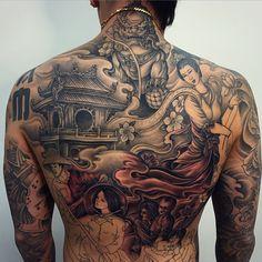 Khuong Nguyen @khuong_daruma Instagram photos | Websta (Webstagram) Back Tattoos For Guys, Full Back Tattoos, Full Body Tattoo, Full Sleeve Tattoos, Asian Tattoos, Sweet Tattoos, Dope Tattoos, Body Art Tattoos, Japanese Temple Tattoo