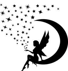 Fairy on Moon Silhouette Fairy Sitting on The Moon