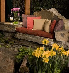 stone sofas and unique outdoor spaces in baltimore md, outdoor living, Stone sofa we crafted from Western PA Sandstone