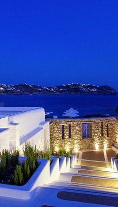Mykonos by Night, Greece (by Wonderful Greece)
