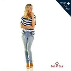 Nosso estilo! #listra #navy #jeans #bordado #lookbook