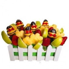 Playful Bees and Fresh Fruit Bouquet