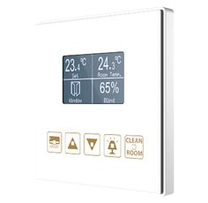 Square TMD-Display Quadratisches, kapazitives Touch-Panel mit 5 Tasten und Grafik-Display mit Thermostat KNX EIB Zennio Home Automation Installation Printable Customisable