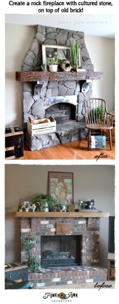 Create a rock fireplace with cultured stone, on top of old brick, via FunkyJunkInteriors.net