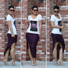 Another fab outfit perfect for vacation wear or a weekend getaway!  #TravelingChic Asymmetrical Skirt + V-Neck Tee - Mimi G Style