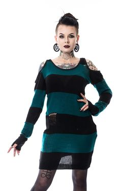 Heartless Striped Tokyo Top    Another awesome Winter Warmer from Heartless Clothing! This gorgeous black and teal striped jumper features patches of distressed knit, as well as a great cold shoulder c...