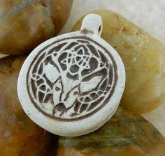 Unisex Celtic Stag porcelain pendant with by celtictreasures