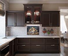 BK078 Mosaic Fruit Bowl Kitchen Backsplash Ideas - Mosaic Natural Espresso Kitchen Cabinets, Backsplash With Dark Cabinets, Kitchen Cabinet Colors, Painting Kitchen Cabinets, Dark Wood Kitchens, Brown Kitchens, Home Kitchens, Kitchen Mosaic, Kitchen Backsplash
