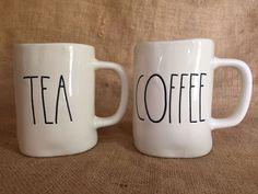 "Rae Dunn by Magenta Tea Coffee Stoneware Coffee Cup Mug Set 5.25""Wx3.25""Lx4.5""H #Magenta"