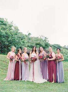 Berry hued bridal party: http://www.stylemepretty.com/2015/01/05/berry-colored-oahu-wedding/ | Photography: Great Romance - http://thegreatromancephoto.com/