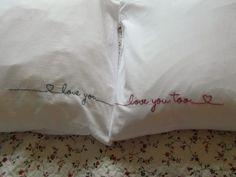 Подушки с вышивкой, для влюбленных.