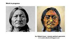 It is pure joy making #mosaic #portraits of #warriors. Sitting Bull - work in progress Visit my mosaic #portrait gallery: www.meinwalkabout.blogspot.com
