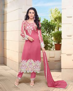 Semi Stitched Pink #Georgette #Straight #Cut #Salwar #Kameez #nikvik  #usa #designer #australia #canada #freeshipping