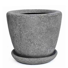MPG 14 in. Dia Composite Pot with Saucer, Rough Cement Ceramic Planters, Ceramic Clay, Ceramic Pottery, Planter Pots, Front Garden Path, Concrete Finishes, Rivage, Front Rooms, Mortar And Pestle