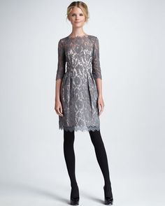 It is perfect. PERFECT! (I had to put my head between my knees and take deep breaths to calm down... PERFECT) Stella Lace Dress, Gray - Neiman Marcus