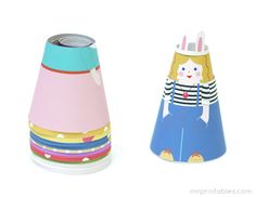 Free Printable Paper Dolls shaped like cones.  Perfect for the puppet work station.