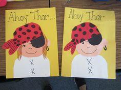 Teacher Bits and Bobs: Pirate card Preschool Pirate Theme, Pirate Activities, Preschool Themes, Pirate Day, Pirate Birthday, Teach Like A Pirate, Homemade Pirate Costumes, Fathers Day Art, Pirate Crafts