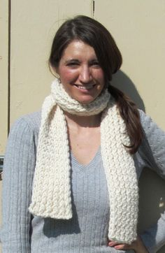 Lion Brand Wool Ease Thick and Quick Cozy Off white Cream Knitted Scarf by ArtTx, $30.00