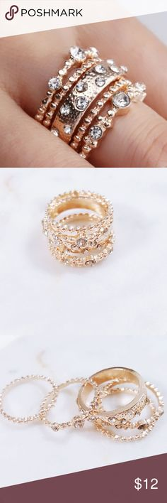 Rose Gold | Fashion Stackable Boho Rings Brand New!!! Rose Gold Crystal Fashion Stackable Boho Rings 5 Peice Set Jewelry Rings