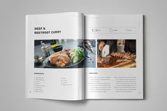 Cookbook / Recipe Book by StockInDesign.com on @creativemarket Chef Cookbook, Cookbook Design, Cookbook Recipes, Print Layout, Beetroot, Spreads, Bakery, Curry, Graphic Design