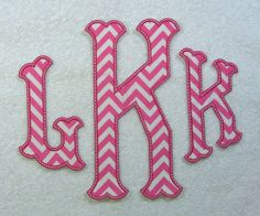 Triple Caroline Monogram (X-Large) Fabric Embroidered Iron On Patch MADE TO  ORDER