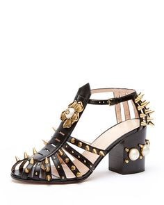 "Gucci 'Kendall' Black Leather Studded Sandal - allover spike studs l Metal flower with center glass pearl | 3"" stacked block heel with glass pearls 