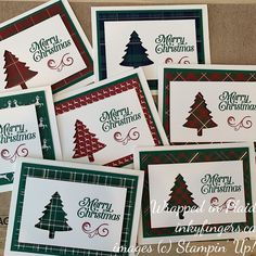 Had a good play with Wrapped in Plaid and the Perfectly Plaid bundle for an upcoming Christmas card swap. Simple Christmas Cards, Homemade Christmas Cards, Christmas Cards To Make, Noel Christmas, Christmas Greeting Cards, Homemade Cards, Handmade Christmas, Holiday Cards, Stampinup Christmas Cards