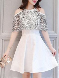 #Valentines #AdoreWe #PopJulia - #PopJulia White Elegant A-line Guipure Lace Party Dress - AdoreWe.com