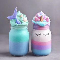 Left or Right? & #9829; Mermaid vs Unicorn delicious dessert. So cute! - #nails #nail