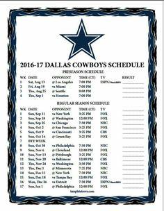 2016-2017 DALLAS COWBOYS SCHEDULE