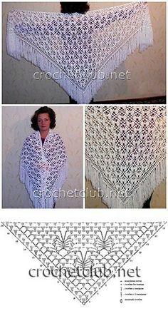 Crochet Lace Shawl free crochet graph pattern by Louise EllisPretty lace shawl but chart is unreadable. Filet Crochet, Crochet Shawl Diagram, Thread Crochet, Crochet Lace, Crochet Stitches, Crochet Shawls And Wraps, Crochet Scarves, Crochet Clothes, Shawl Patterns