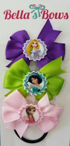 Multi coloured Disney Princess Hair Bands - available at Bella's Bows.