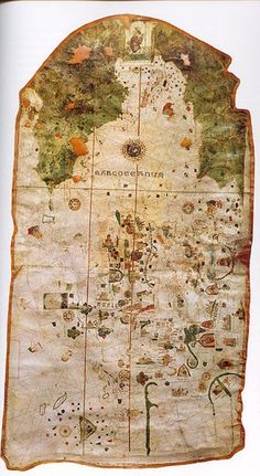 The world map of the Spanish cartographer, conquistador and explorer Juan de la Cosa created in 1500 is the earliest world map showing part of the Americas. Juan de la Cosa sailed the first 3 voyages with Columbus and was the captain of the Santa María. Decoupage Vintage, Vintage Maps, Antique Maps, Antique Items, Piri Reis Map, Map Globe, Old Maps, Christopher Columbus, Historical Maps
