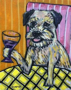 Border terrier dog wine 4x6 glossy  art PRINT impressionism artist animals