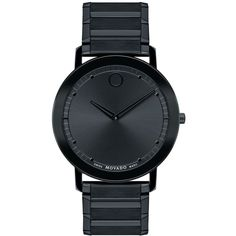 Movado Unisex Swiss Sapphire Black Pvd-Finished Stainless Steel... found on Polyvore featuring jewelry, watches, no color, movado watches, stainless steel wrist watch, unisex watches, black watches and sapphire jewelry