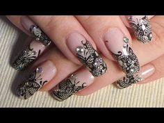 Nude Acrylic Stiletto & Encapsulated Black Lace nail art tutorial   INK London Acrylink - YouTube