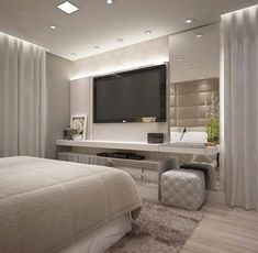 56 cool and fun bedroom tv wall design ideas 1 Luxury Bedroom Design, Master Bedroom Design, Home Interior Design, Interior Sketch, Studio Interior, French Interior, Master Suite, Bedroom Tv Wall, Home Decor Bedroom