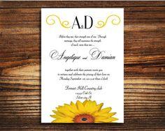 Wedding invitations Sunflower wedding invite by LovableInvitations, $1.00
