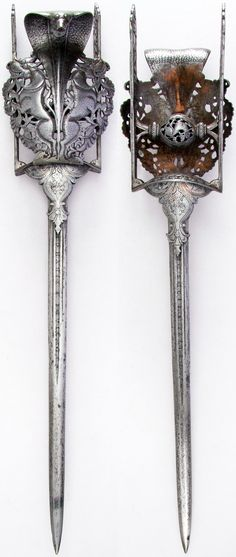 Indian katar, from Thanjavur (formerly Tanjore) in South India, with prominent… Swords And Daggers, Knives And Swords, Vanitas, Katana, Cool Swords, Dagger Knife, Arm Armor, Fantasy Weapons, Guns