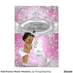 Pink Princess Winter Wonderland Baby Shower Ethnic 5x7 Paper Invitation Card